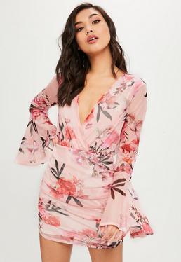 Pink Floral Printed Mesh Mini Dress