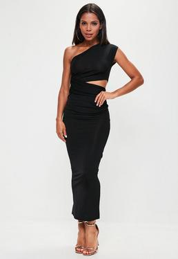 Black Slinky One Shoulder Cut Out Maxi Dress