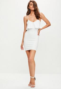 White Scuba Strappy Bodycon Dress