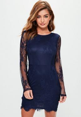 Granatowa koronkowa sukienka mini