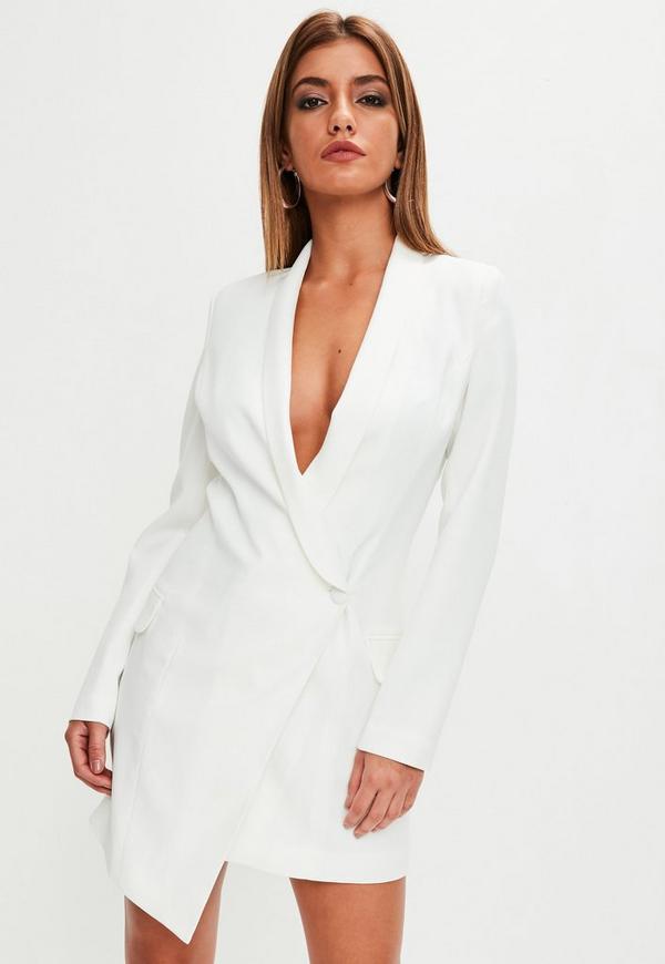 White Asymmetric Blazer Dress