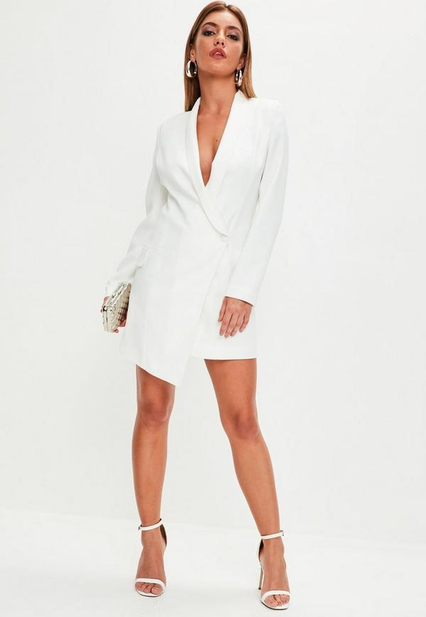 White Asymmetric Blazer Dress | Missguided
