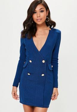 Vestido estilo blazer premium vaquero bandage en azul