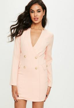 Nude Crepe Button Blazer Dress