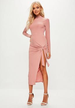 Pink Slinky Midi Dress