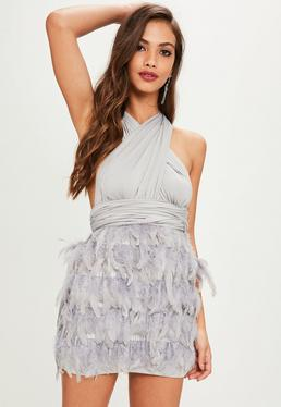 Grey Feather Bottom Multi Way Dress