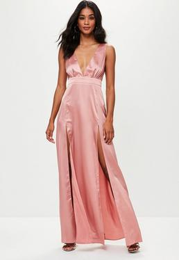 Pink Plunge Double Split Front Satin Maxi Dress