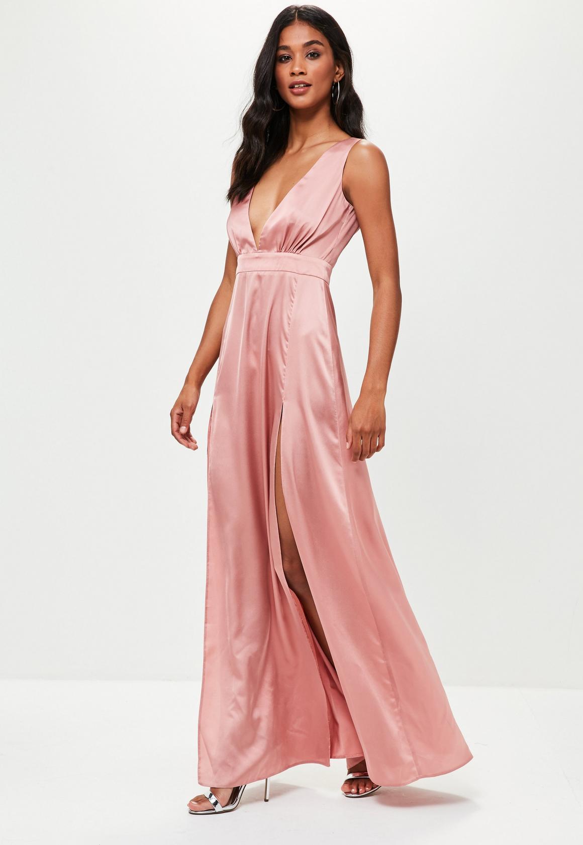 Missguided - Pink Plunge Double Split Front Satin Maxi Dress 373de629f
