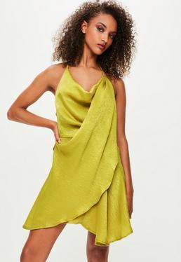 Londunn + Missguided Green Satin Mini Dress