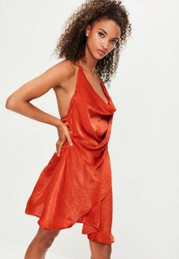 Londunn + Missguided Pomarańczowa asymetryczna sukienka