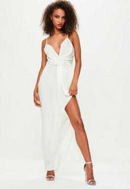 Londunn + Missguided White Satin Maxi Dress