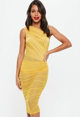 Yellow Mesh and Slinky One Shoulder Dress