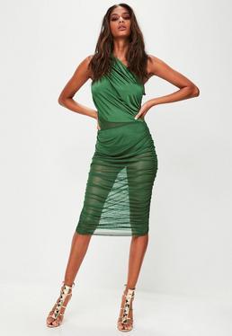 Gerafftes One-Shoulder Kleid in Grün