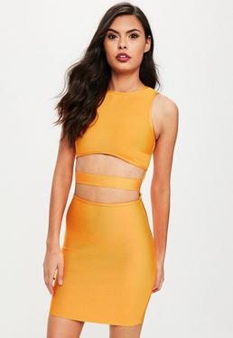 Orange Bandage Cut Out Dress