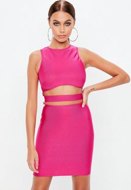 Pink Bandage Cut Out Dress