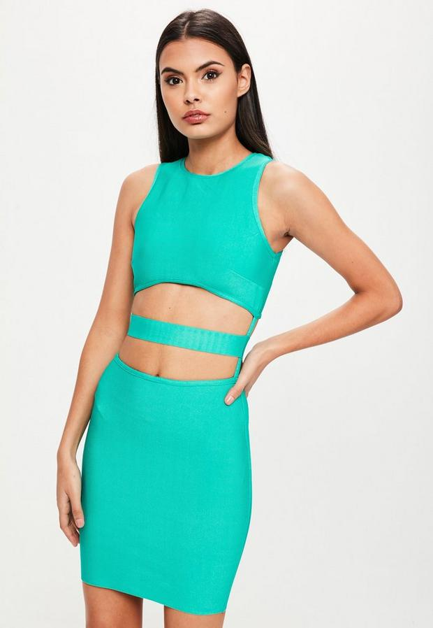Missguided - Green Bandage Cut Out Dress, Green - 1