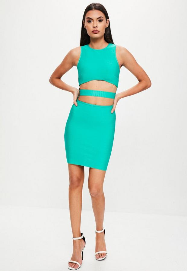 Missguided - Green Bandage Cut Out Dress, Green - 2