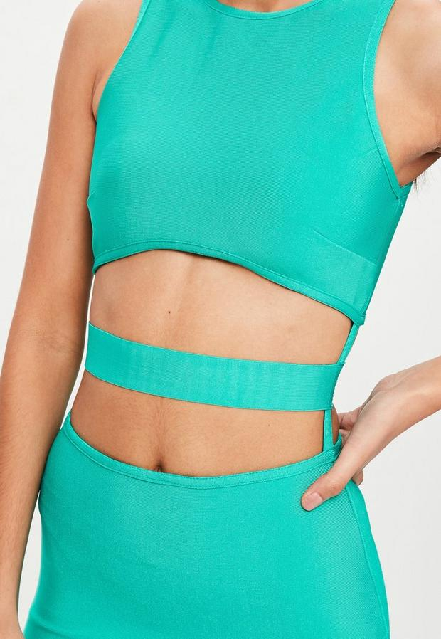 Missguided - Green Bandage Cut Out Dress, Green - 3
