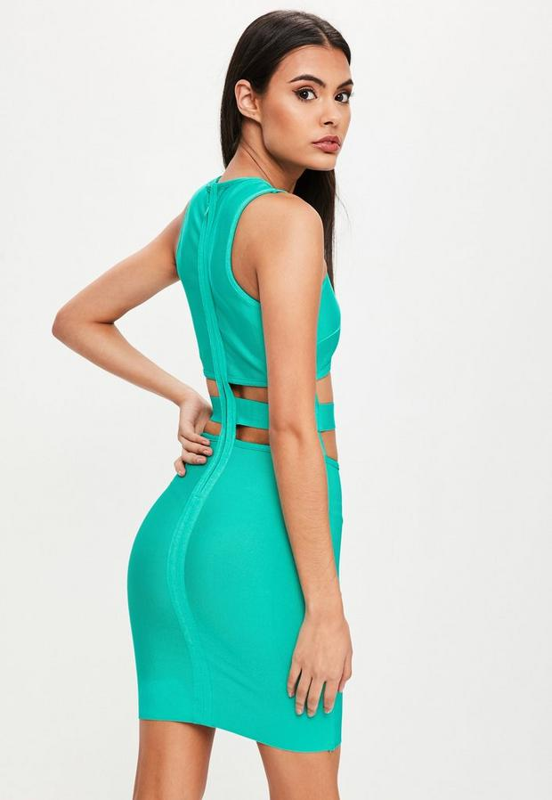 Missguided - Green Bandage Cut Out Dress, Green - 4