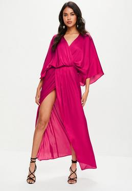 Pink Satin Plunge Split Maxi Dress