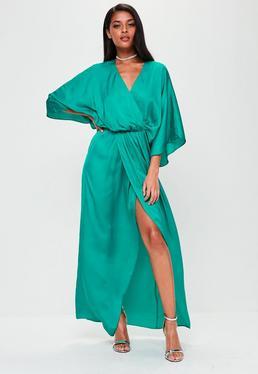 Green Satin Plunge Split Maxi Dress