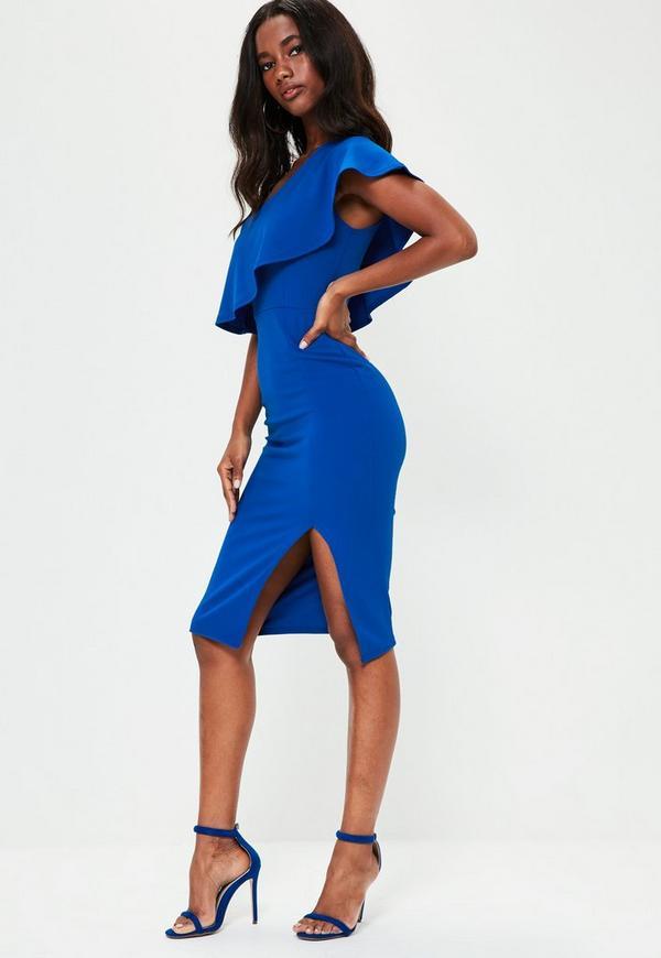 Blue One Shoulder Frill Detail Dress