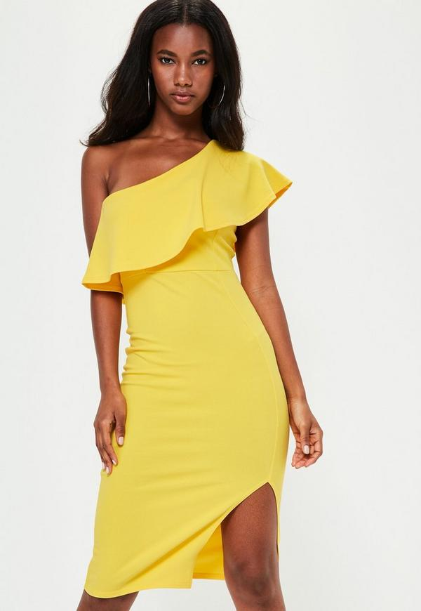 Yellow One Shoulder Frill Detail Dress