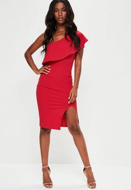 Czerwona sukienka midi na jedno ramię