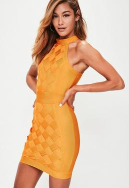 Orange High Neck Sleeveless Weave Bodycon Dress
