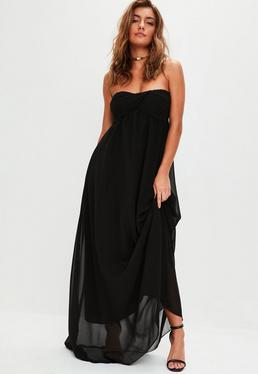 Black Gathered Chiffon Maxi Dress