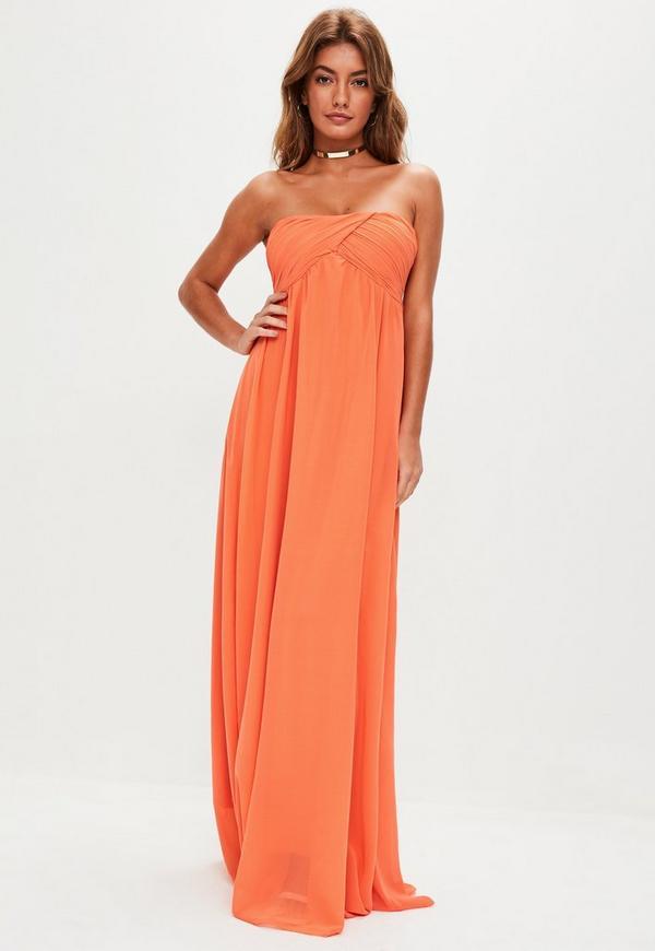 Orange Gathered Chiffon Maxi Dress