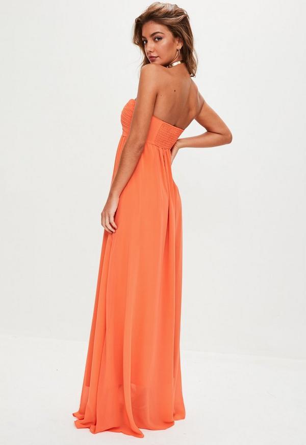 Orange Gathered Chiffon Maxi Dress | Missguided