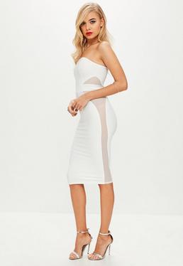 White Mesh Insert Bandeau Bandage Midi Dress