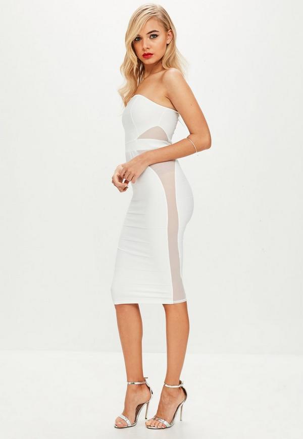 white mesh insert bandeau bandage midi dress missguided
