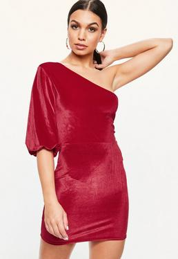 Pink Velvet One Shoulder Dress