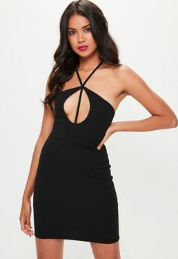 Black Keyhole Detail Bodycon Dress