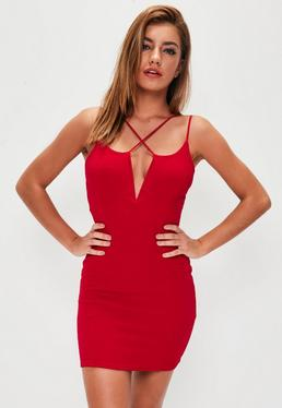 Red Multi Strap Bodycon Dress
