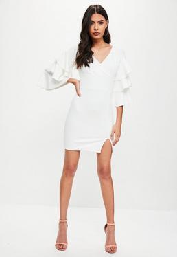 White Tier Sleeve Bodycon Dress
