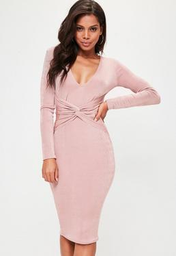 Pink Long Sleeve Twisted Waist Midi Dress