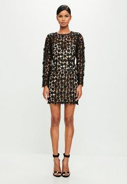 Peace + Love Black Star Lace Bodycon Dress