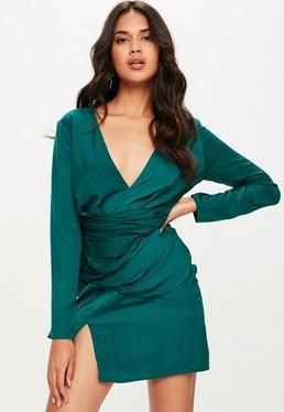 Green Silky Long Sleeve Panelled Dress