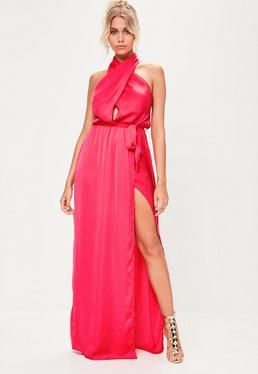 Vestido largo cruzado en satén rosa
