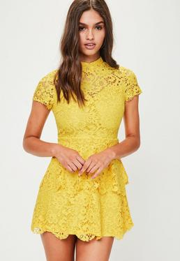 Yellow Lace Mini Dress