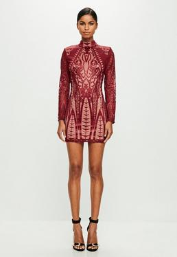 Peace + Love Red Placed Lace High Neck Bodycon Dress