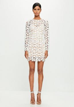 Peace + Love White Star Lace Bodycon Dress