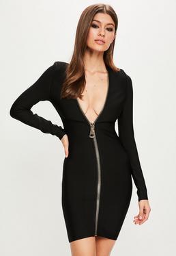 Peace + Love Black Long Sleeve Bandage Dress