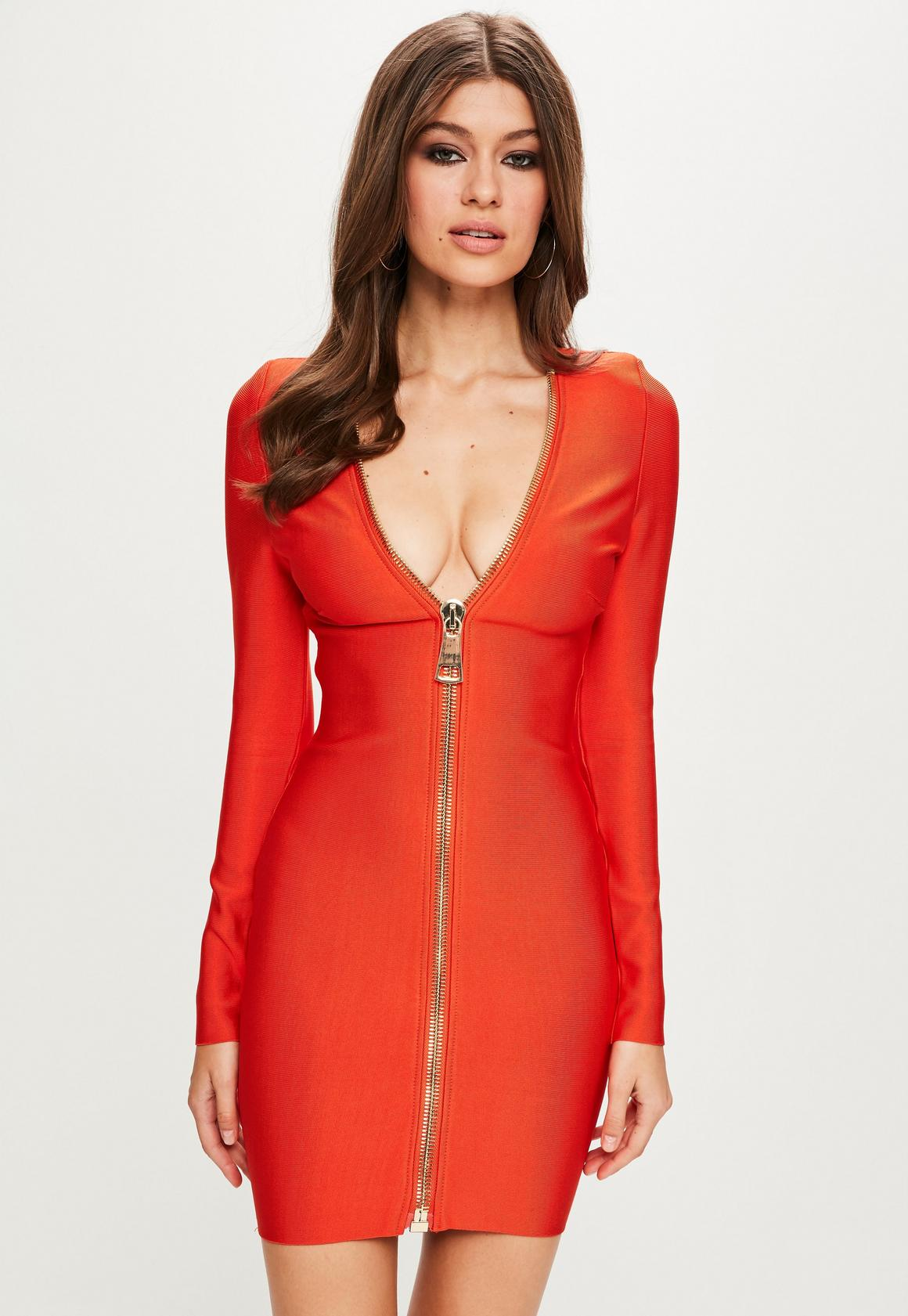 Peace   Love Orange Long Sleeve Bandage Dress | Missguided