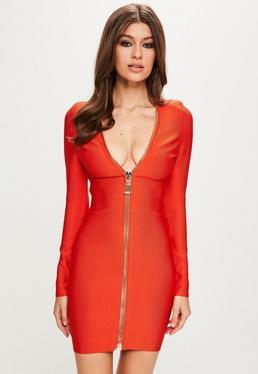 Peace + Love Orange Long Sleeve Bandage Dress
