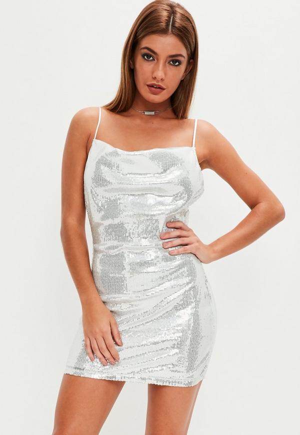 Silver Strappy Sequin Bodycon Dress