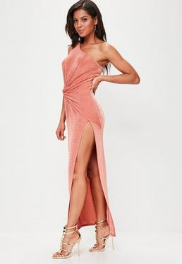 Pink Slinky One Shoulder Maxi Dress